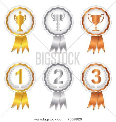 Winners Set 1 - Gold, Silver and Bronze Rosettes