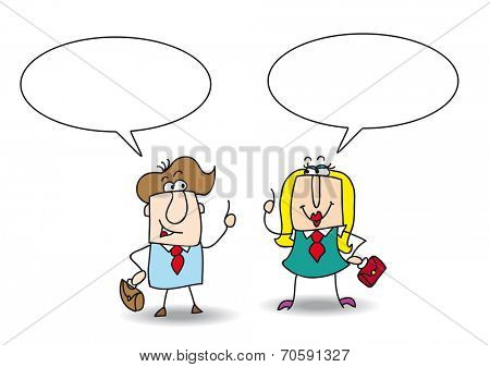 discussion between Josh and Betty. A businessman and a businesswoman are talking together. Write your message in the copy space