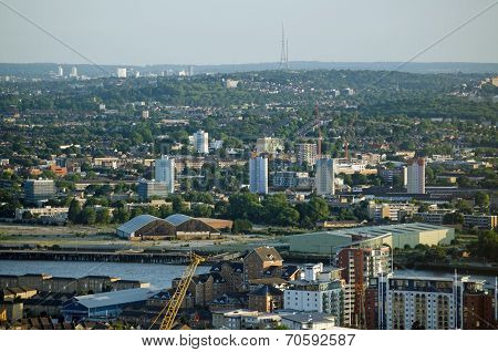 View from Docklands to Crystal Palace, London