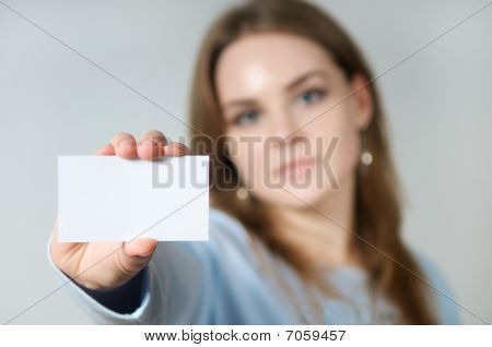 Young Woman Holding Blank Business Card
