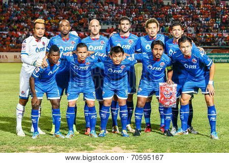Sisaket Thailand-august 13: Players Of Ptt Rayong Fc. Pose For A Team Picture Prior To Thai Premier