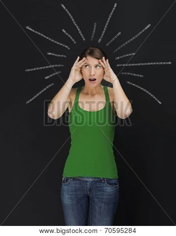 Concept of beautiful young student in panic with light  rays over the head