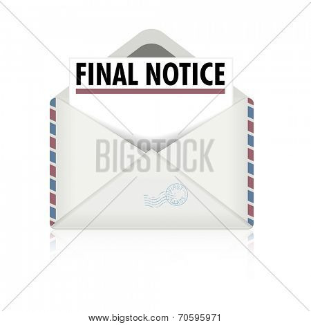 detailed illustration of an open envelope with final notice letter, eps10 vector