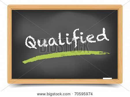 detailed illustration of a blackboard with Qualified term, eps10 vector, gradient mesh included