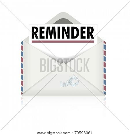 detailed illustration of an open envelope with reminder letter, eps10 vector