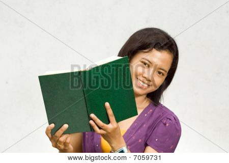 Asian College Student With Book