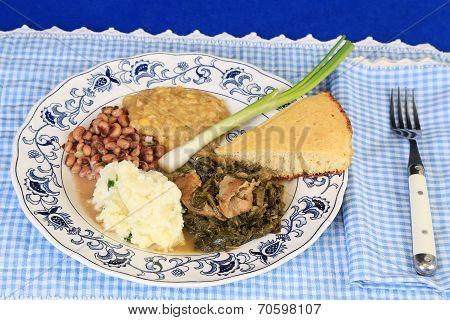 Soul Food On Blue Gingham