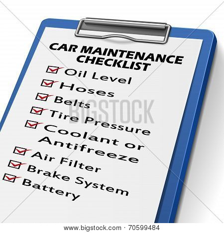 Car Maintenance Checklist Clipboard
