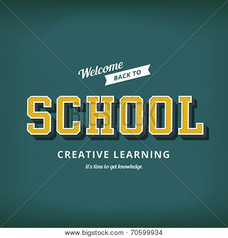 Back to school sale typography poster vector design template. Retro Vintage style. Education Blackboard background.