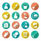 stock photo of dust-bin  - Set flat icons of cleaning isolated on white - JPG