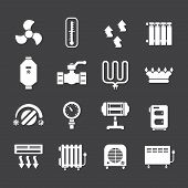 picture of furnace  - Set icons of heating isolated on black - JPG
