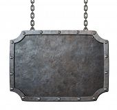 pic of ironworker  - medieval metal sign or frame with chains isolated on white - JPG