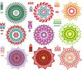 stock photo of henna tattoo  - Round Ornament Pattern with Pattern brash - JPG