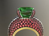 picture of peridot  - Golden Ring with Diamond - JPG