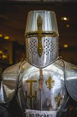 foto of armor suit  - medieval armor made of wrought iron - JPG