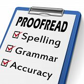picture of grammar  - proofread clipboard with check boxes marked for spelling grammar and accuracy - JPG