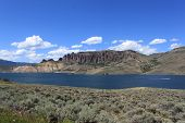 pic of bluff  - A river as it winds by a bluff in central Colorado - JPG