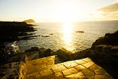 image of canary-islands  - Sunrise on a Pier over Atlantic Ocean in Tenerife Canary Islands Spain - JPG