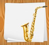 picture of trombone  - Illustration of an empty paper with a trombone - JPG