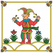 picture of minstrel  - Russian traditional popular print style jester  - JPG