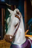 pic of carousel horse  - White horse - JPG