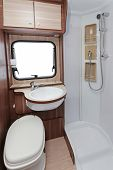 stock photo of camper-van  - Toilet with shower cabin in camper van - JPG