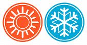 pic of fahrenheit thermometer  - isolated icon with snowflake and sun  - JPG