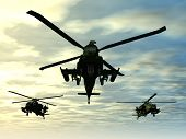picture of apache  - Computer generated 3D illustration with Apache Helicopters - JPG