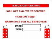 picture of osha  - Painted created photo of a lock out tag out training sign - JPG