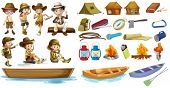 pic of camper  - Illustration of the campers and the things used during camping on a white background - JPG