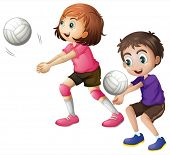image of playmate  - Illustration of the kids playing volleyball on a white background - JPG
