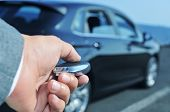 picture of car-window  - detail of a man in suit opening his car with the control remote key - JPG