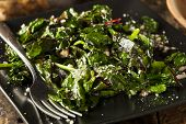 pic of sauteed  - Homemade Healthy Sauteed Swiss Chard with Garlic and Cheese