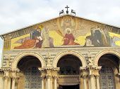 picture of gethsemane  - The gable of the Church of All Nations in Gethsemane garden of Jerusalem Israel - JPG