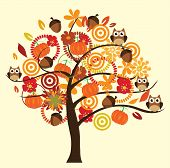 image of fall decorations  - vector fall tree with owls flowers mushrooms pumpkins ans owls - JPG