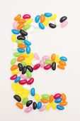 stock photo of jelly beans  - Jelly beans in the shape of the letter - JPG