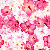 stock photo of hawaiian flower  - Tropical flowers with pink background seamless pattern  - JPG
