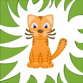 foto of tiger cub  - Cartoon cat looks like tiger in frame of jungle grass - JPG