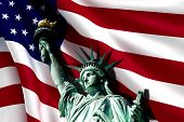 foto of statue liberty  - Statue of Liberty on the background of flag usa - JPG