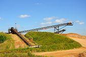 picture of sand gravel  - Sand and gravel quarry conveyor belt Alrewas Staffordshire England UK Western Europe - JPG