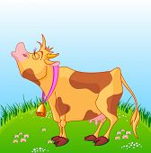 stock photo of moo-cow  - Illustration of cute cow moos on a sunny meadow - JPG