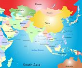stock photo of south east asia  - Vector color south asia map - JPG