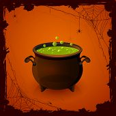 foto of witches cauldron  - Halloween background with spiders and witches cauldron with potion illustration - JPG