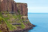 stock photo of kilt  - The landmark Kilt rock seen on the east coast of the Isle of Skye - JPG