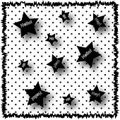 image of poka dot  - Illustration in black and white with poka dots and  the words Hello - JPG