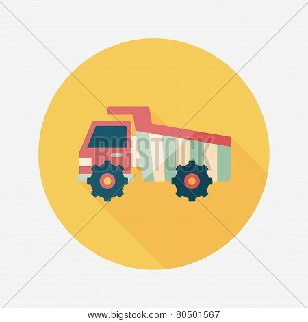 Transportation Excavator Flat Icon With Long Shadow,