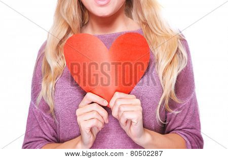 Woman holding in hands red paper heart isolated on white background, healthy lifestyle, Valentine day greeting card, love concept