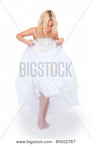 Bride Looks At His Legs Under The Hem