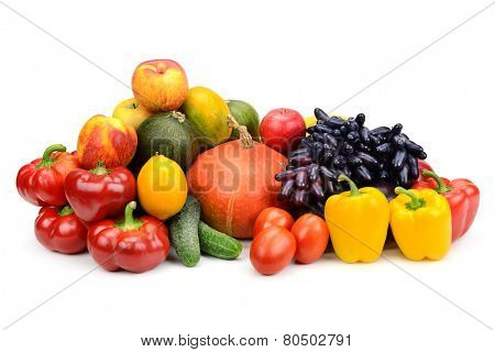 assortment of fresh fruits and vegetables isolated on white background