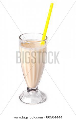 Yummy banana milkshake on a white background